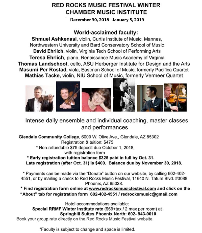 Red Rock Music Festival Winter Chamber Music Institute